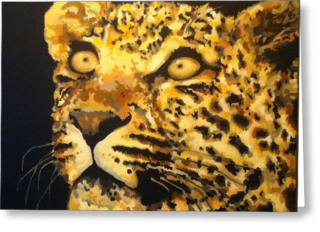Golden Leopard Greeting Cards - Leopard Greeting Card by Teesha Preece