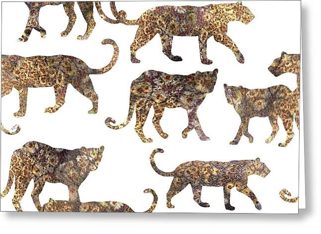 Leopards Greeting Card by Varpu Kronholm