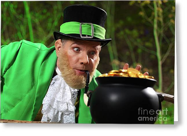 Faerie Tale Greeting Cards - Leprechaun with Pot of Gold Greeting Card by Oleksiy Maksymenko
