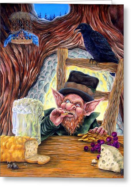 Best Sellers -  - Dungeons Greeting Cards - Leprechauns Lair Greeting Card by Heather Calderon