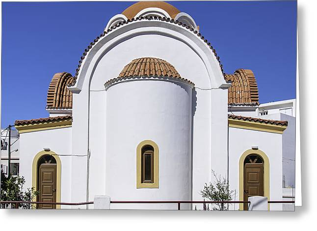 Petra Greeting Cards - Lerapetra church rear Greeting Card by Antony McAulay