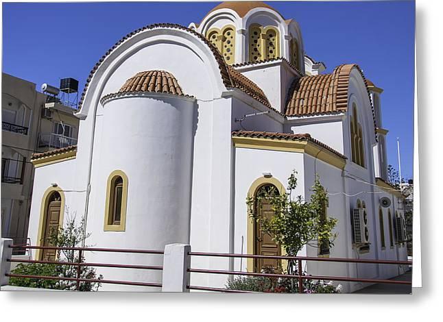 Petra Greeting Cards - Lerapetra church square Greeting Card by Antony McAulay