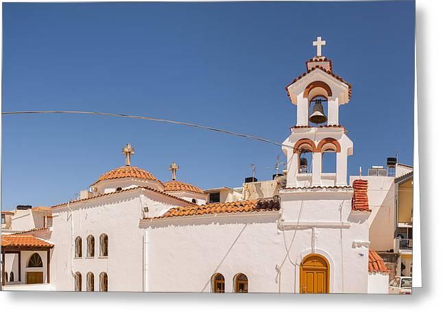 Petra Greeting Cards - Lerapetra church Square pano Greeting Card by Antony McAulay