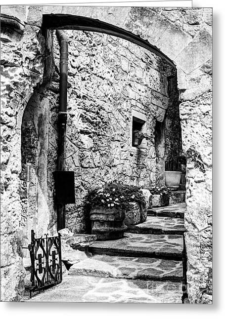 Southern France Greeting Cards - Les Baux de Provence 14 BW Greeting Card by Mel Steinhauer