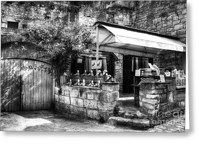 White Photographs Greeting Cards - Les Baux de Provence 5 BW Greeting Card by Mel Steinhauer
