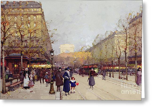 Les Champs Elysees, Paris Greeting Card by Eugene Galien-Laloue