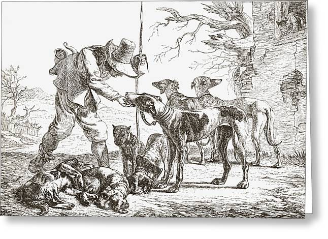 Feed Drawings Greeting Cards - Les Chiens By Pieter Van Laer. A Hunter Greeting Card by Ken Welsh