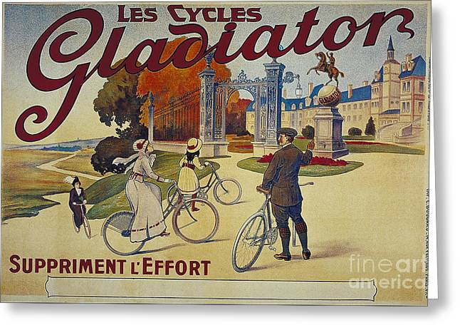Les Mixed Media Greeting Cards - Les Cycles Gladiator Suppriment l Effort vintage cycling poster Greeting Card by R Muirhead Art