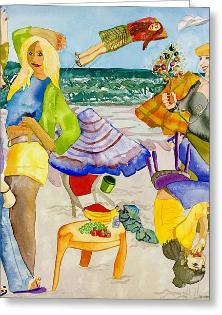 Demoiselles Greeting Cards - Les Demoiselles of Santa Cruz V4 Greeting Card by Susan Cafarelli Burke