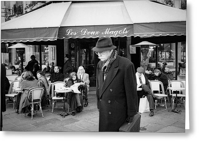 People Pyrography Greeting Cards - Les Deux Magot in Blvd. St. Germain. Greeting Card by Cyril Jayant