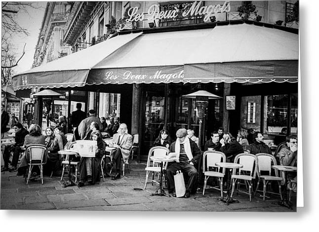 Cafe Pyrography Greeting Cards - Les deux Magots . Greeting Card by Cyril Jayant