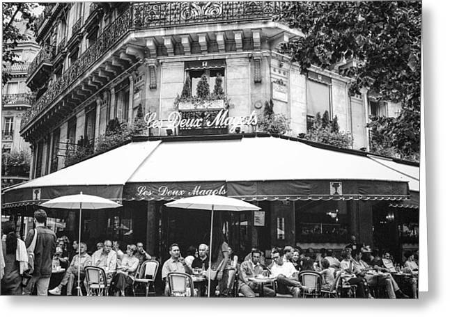 Cafe Pyrography Greeting Cards - Les Deux Magots in St. Germain Paris.  Greeting Card by Cyril Jayant