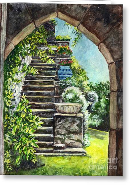 Stepping Stones Drawings Greeting Cards - Les Escaliers en Bandouille in Sevres France  Greeting Card by Carol Wisniewski