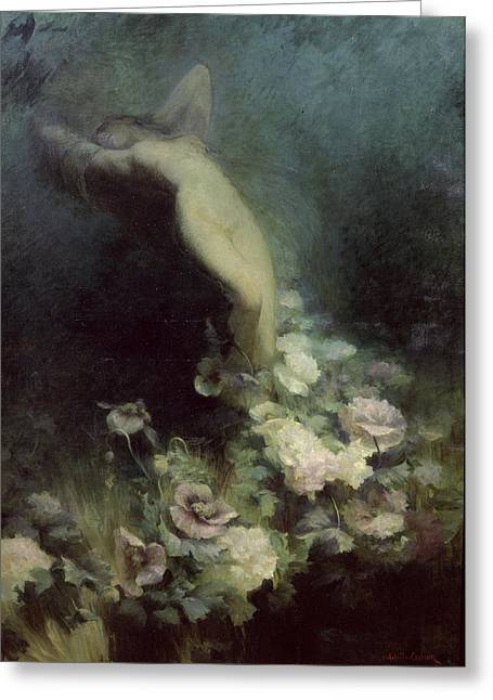 Reverie Paintings Greeting Cards - Les Fleurs du Sommeil Greeting Card by Achille Theodore Cesbron