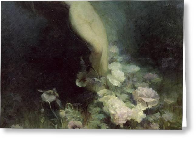 Les Fleurs du Sommeil Greeting Card by Achille Theodore Cesbron