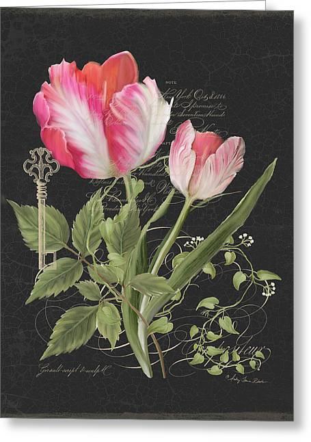 Les Fleurs Magnifiques En Noir - Parrot Tulips Vintage Style Greeting Card by Audrey Jeanne Roberts