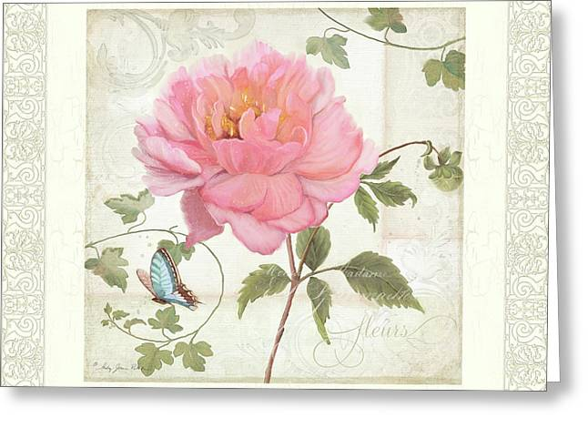 Les Fleurs Magnifiques II - Pink Peony W Vines N Butterfly  Greeting Card by Audrey Jeanne Roberts