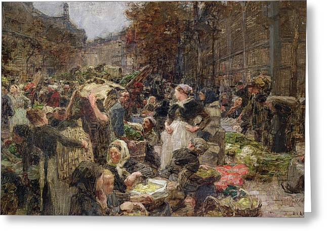 Commerce Greeting Cards - Les Halles Greeting Card by Leon Augustin Lhermitte