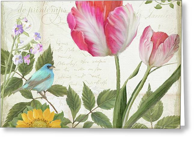 Les Magnifiques Fleurs IIi - Magnificent Garden Flowers Parrot Tulips N Indigo Bunting Songbird Greeting Card by Audrey Jeanne Roberts