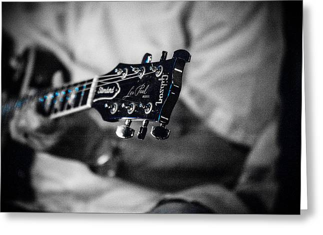 Nashville Tennessee Greeting Cards - Les Paul Black and White Greeting Card by Sheri Bartoszek
