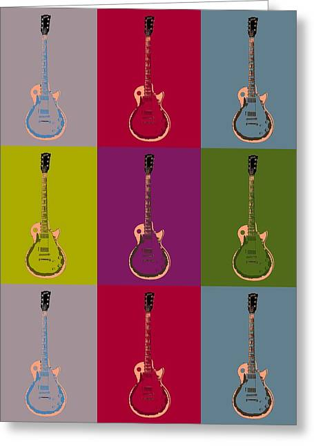 Owner Greeting Cards - Les Paul Colorful Poster Greeting Card by Dan Sproul