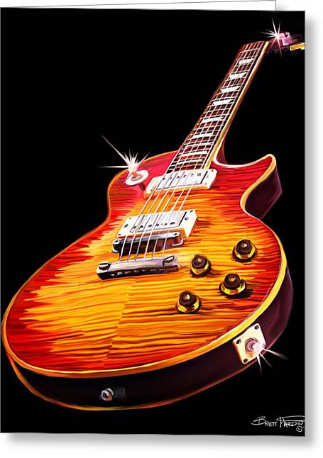 Les Greeting Cards - Les Paul Guitar Greeting Card by Brett Hardin