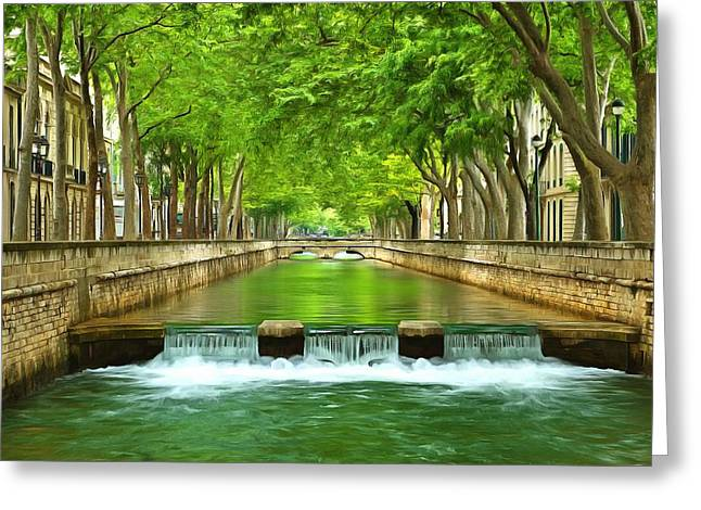 Southern France Mixed Media Greeting Cards - Les Quais De La Fontaine Nimes Greeting Card by Scott Carruthers