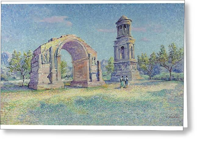 Les Ruines Romaines De Saint Greeting Card by Louis Gaidan