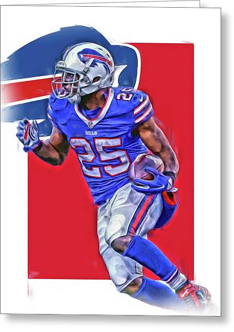 Lesean Mccoy Buffalo Bills Oil Art Greeting Card by Joe Hamilton