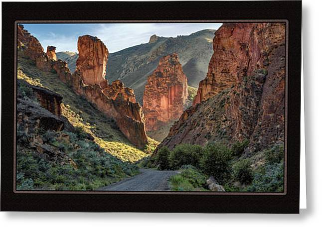 Leslie Gulch Triptych Greeting Card by Leland D Howard
