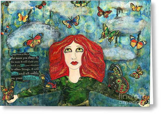 Happiness Quotes Greeting Cards - Lessons from a Butterfly Greeting Card by AnaLisa Rutstein