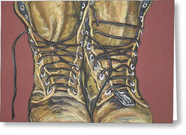 Boots Pastels Greeting Cards - Lest We Forget Greeting Card by Dianne  Ilka