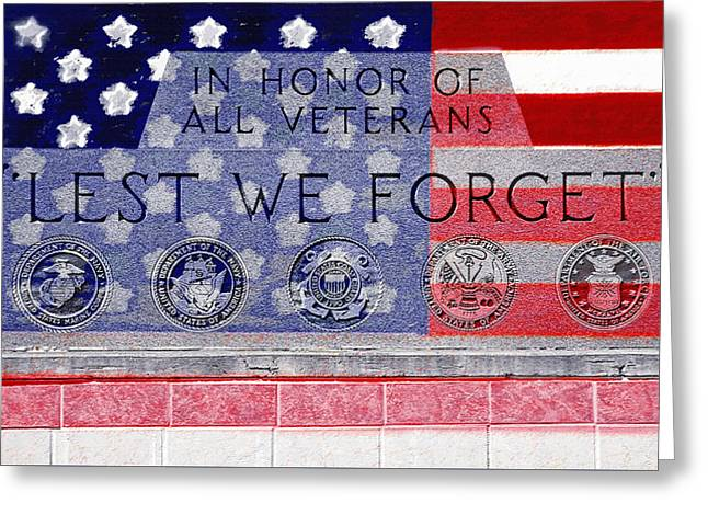 Not In Service Greeting Cards - Lest We Forget with Flag Graphic Greeting Card by Steve Ohlsen