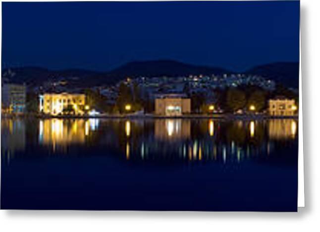 Lesvos Greeting Cards - Lesvos Mytilene night Panoramic Greeting Card by Vassilis Triantafyllidis
