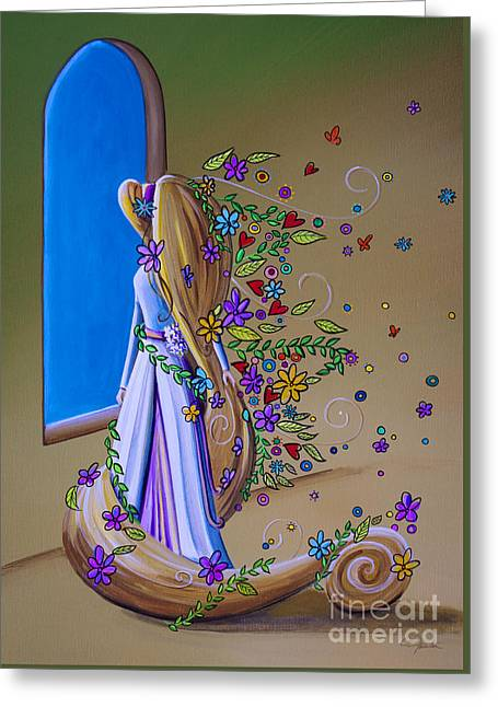 Grimm Greeting Cards - Let Down Your Hair Greeting Card by Cindy Thornton
