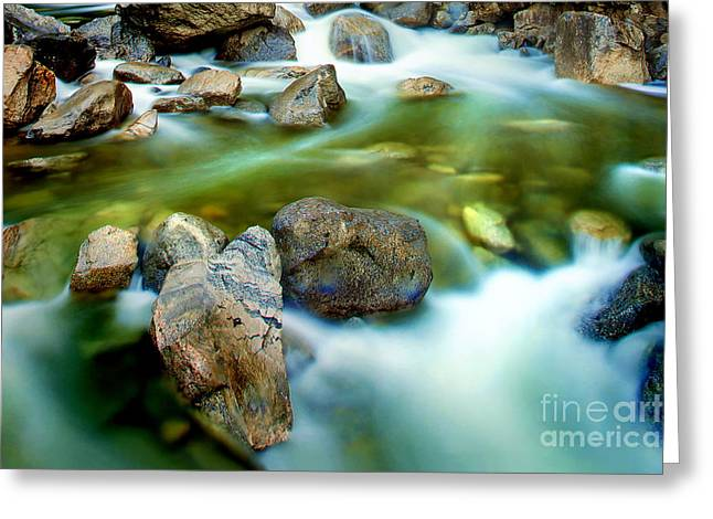 Blue Green Water Photographs Greeting Cards - Let It Flow Greeting Card by Az Jackson
