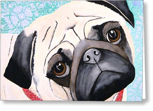 Puppies Paintings Greeting Cards - Let It Snow Greeting Card by Connie Lawrie