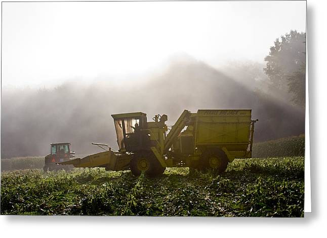 Corn Picker Greeting Cards - Let the Light Shine Down Greeting Card by Tim  Fitzwater