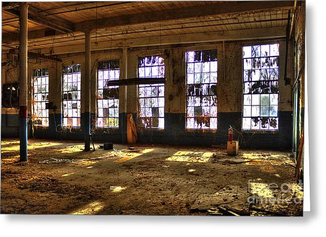 Glass Wall Photographs Greeting Cards - Let There Be Light Mary Leila Cotton Mill 1899 Greeting Card by Reid Callaway