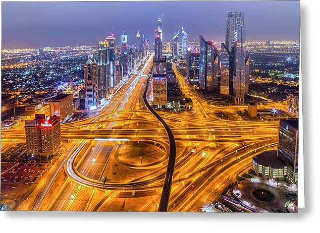 Dubai Greeting Cards - Let There Be More Light Greeting Card by Akhter Hasan