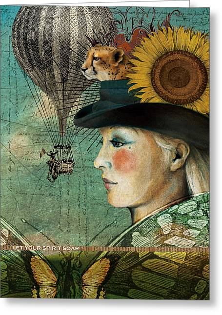 Hot Air Balloon Mixed Media Greeting Cards - Let Your Spirit Soar Greeting Card by Katherine DuBose Fuerst