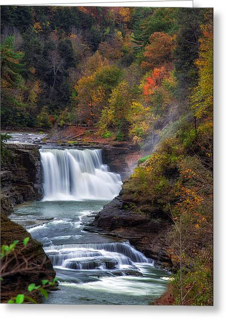 Letchworth Lower Falls 3 Greeting Card by Mark Papke