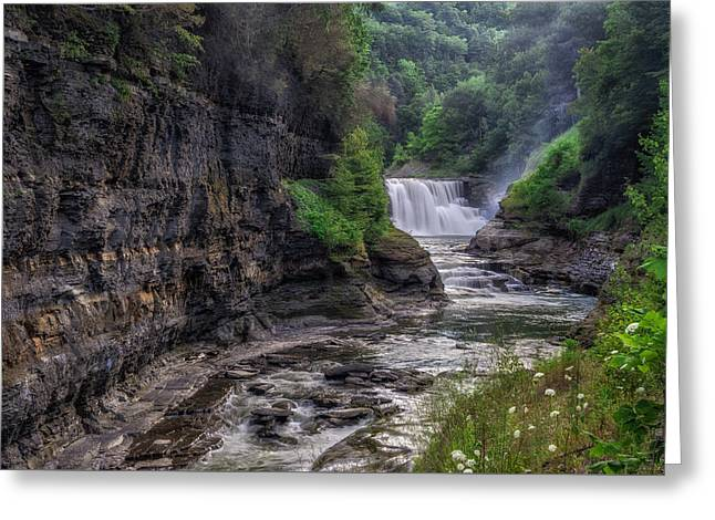 The Grand Canyon Greeting Cards - Letchworth Lower Falls - Summer Greeting Card by Mark Papke