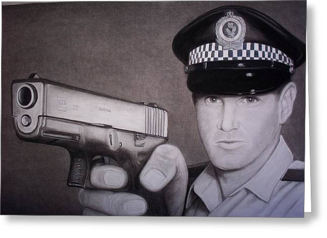 Police Officer Drawings Greeting Cards - Lethal Force Greeting Card by Brendan SMITH