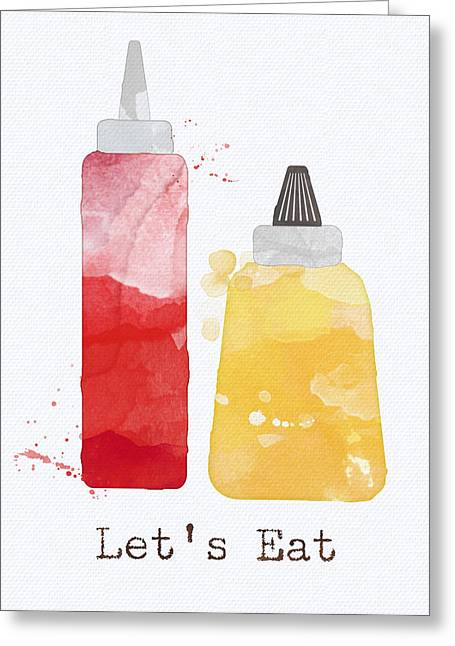 Diner Greeting Cards - Lets Eat Greeting Card by Linda Woods