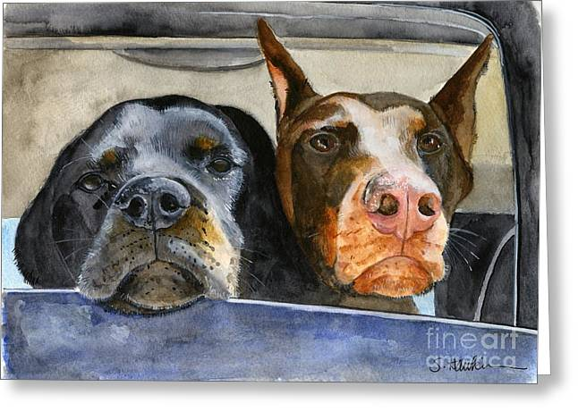 Rottweiler Puppy Greeting Cards - Lets Go For a Ride Greeting Card by Sheryl Heatherly Hawkins