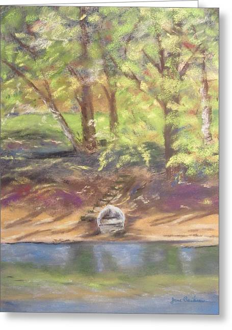 Row Pastels Greeting Cards - Lets go for a Row Greeting Card by Jane Baribeau