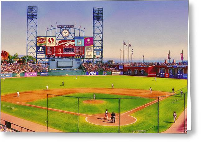 Baseball Uniform Digital Art Greeting Cards - Lets Go Giants Greeting Card by John K Woodruff