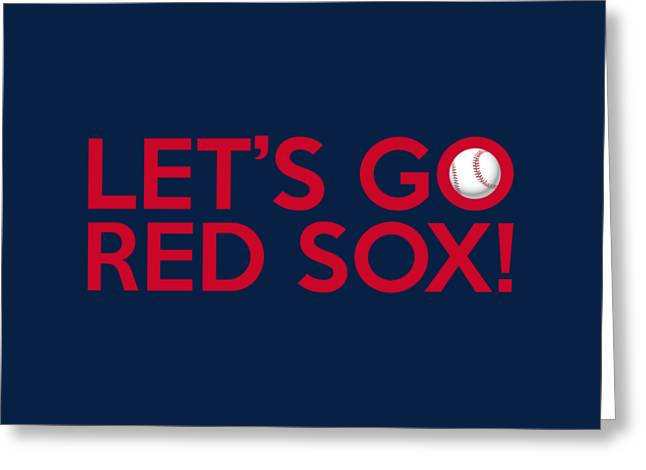 Red Sox Vintage Poster Greeting Cards - Lets Go Red Sox Greeting Card by Florian Rodarte