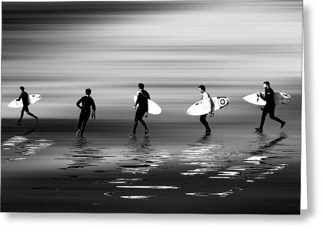 Croyde Greeting Cards - Lets go surf mono Greeting Card by Sharon Lisa Clarke